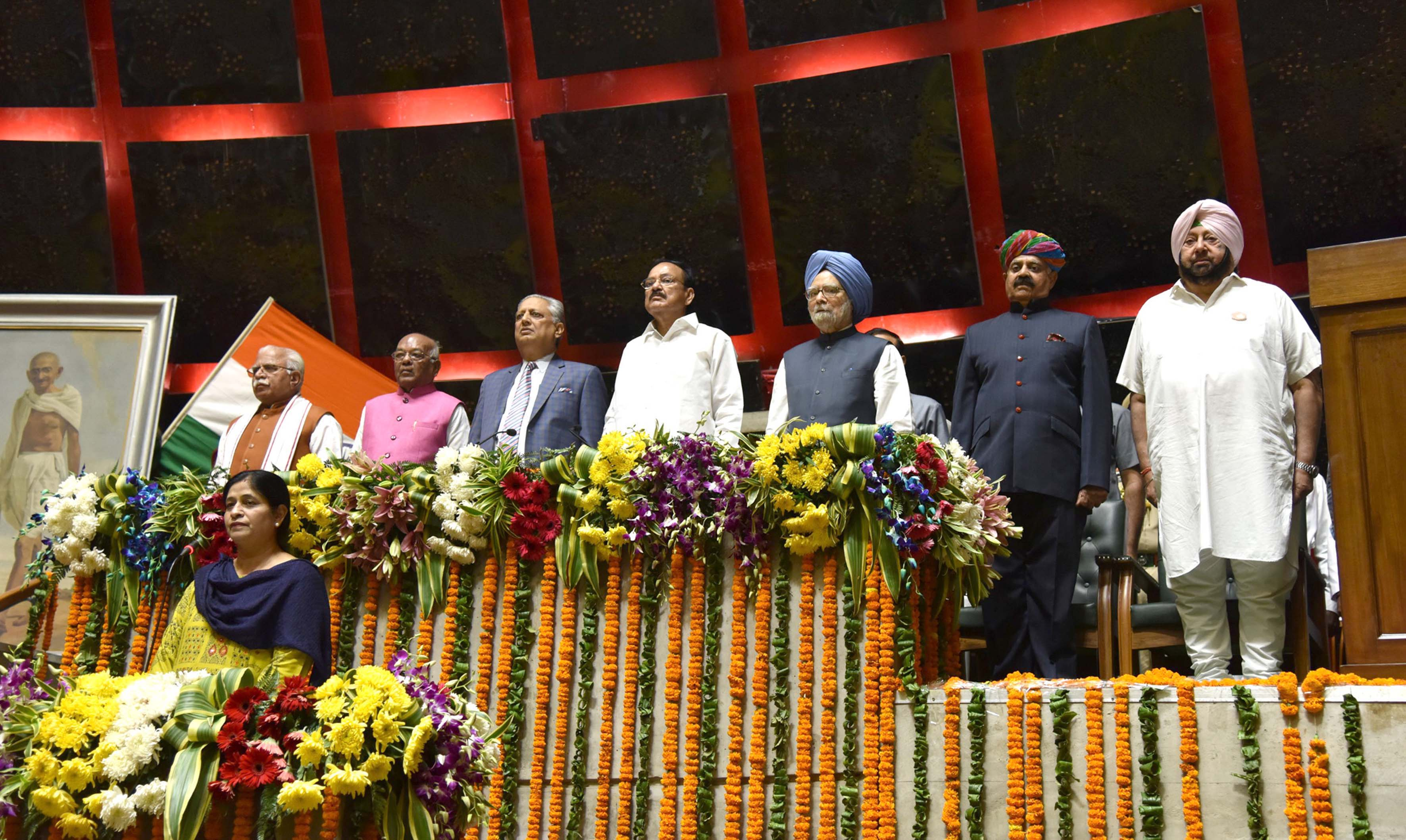 Vice President M Venkaiah Naidu, Former Prime Minister Manmohan Singh, Punjab Chief Minister Captain Amarinder Singh, Haryana Chief Minister Manohar Lal Khattar at the special session of Punjab Assembly convened to commemorate the 550th Birth Anniversary of Guru Nanak Dev Ji, in Chandigarh on Wednesday. (UNI)