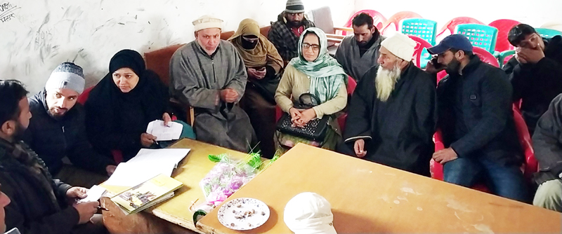 People highlighting grievances on the concluding day of B2V programme at Ganderbal on Saturday.