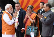 Prime Minister, Narendra Modi being welcomed by the dignitaries, on his arrival, in Bangkok, Thailand on Saturday.