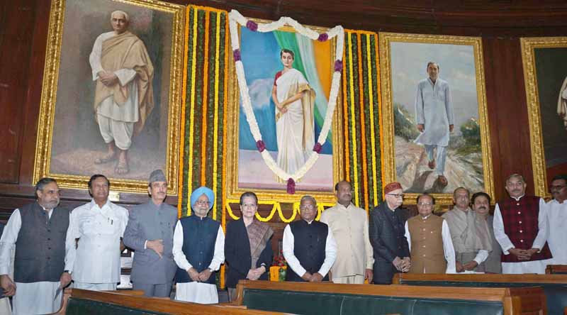 Congress President Sonia Gandhi, Former Prime Minister Manmohan Singh, Veteran BJP leader L K Advani and others pose for a photograph after paying tribute to former Prime Minister Indira Gandhi on her birth anniversary at the Central Hall of Parliament house, in New Delhi on Tuesday. (UNI)