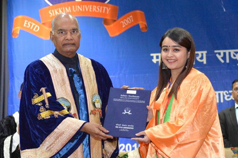 President Kovind addresses the 5th Convocation of Sikkim University, Gangtok on Sunday.