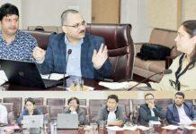 Secy RDD Sheetal Nanda chairing a meeting in Jammu on Saturday.