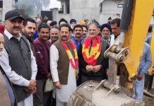 Former Deputy CM, Kavinder Gupta kick starting drainage work at Gangyal on Thursday.