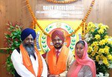 Dr H S Paul, Delhi Bureau Chief of Daily Excelsior and Satinder Kaur, Senior Manager Operations, posing with Giani Ranjit Singh, Chief Priest of Gurudwara Bangla Sahib, New Delhi.