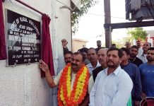 Senior BJP leader and ex MLC, Ch Vikram Randhawa inaugurating a newly constructed culvert at Rohi Morh in Gandhi Nagar Constituency on Sunday.