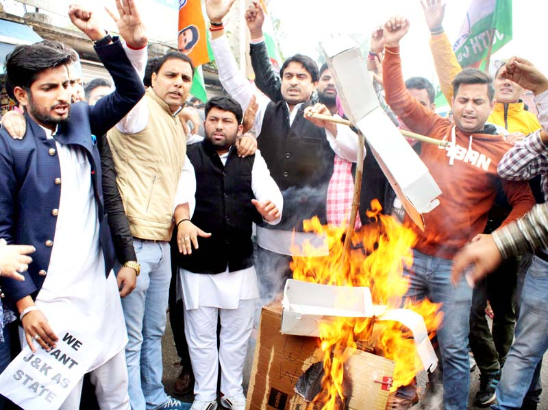 PYC activists protest at Jammu on Friday. -Excelsior/Rakesh