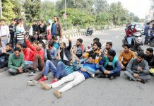 Students raising slogans during protest. -Excelsior/Rakesh