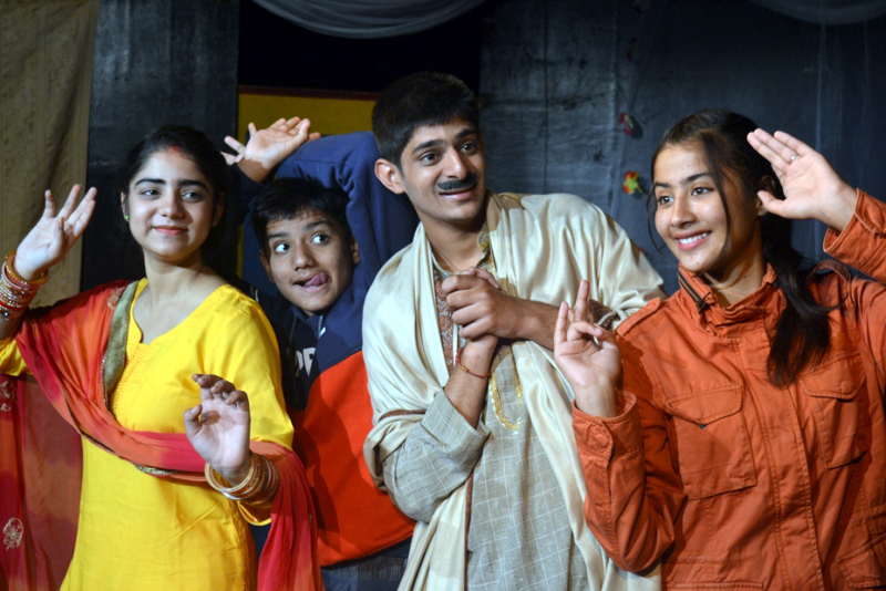 A scene from Hindi comedy play 'Chor' staged at Jammu on Sunday.