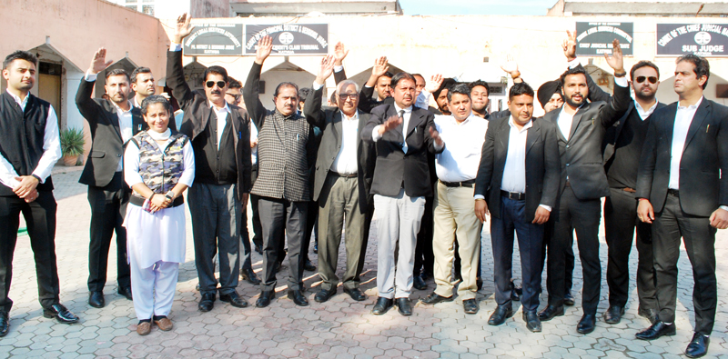 Members of Kathua Bar Association protesting on Wednesday.