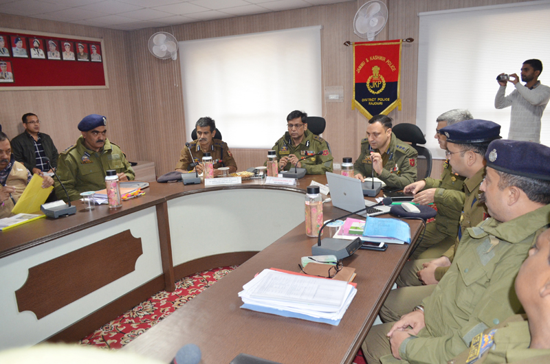 IGP Jammu Zone Mukesh Singh reviewing crime position of District Rajouri. DIG Vivek Gupta and SSP Rajouri Yougal Manhas are also seen in the picture.