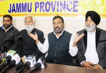PHE Employees United Front leaders at a joint press conference in Jammu on Friday. -Excelsior/ Rakesh