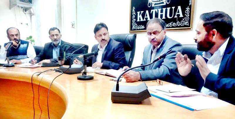 Managing Director of SC, ST and OBC Development Corporation, Dr. Bharat Bhushan during a meeting of the Corporation.