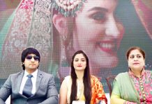 Director, Actor Yuvraj Kumar, Actress Rippy Koul and Music Director & Singer Neerja Pandit at the song release function at Jammu on Thursday.