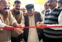 BJP leaders Yudhvir Sethi and Prabhat Singh inaugurating Daily Needs store at Bishnah on Wednesday.