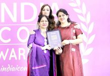 Chairperson, Knowracle Group, Ved Mahajan and Director Swati Mahajan posing with UN Goodwill Ambassador and actress Dia Mirza after receiving the award.