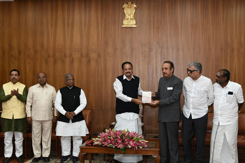Vice President, M. Venkaiah Naidu releasing the publication — Rajya Sabha: The Journey Since 1952' in the presence of leaders of various political parties and groups, in New Delhi on Sunday.