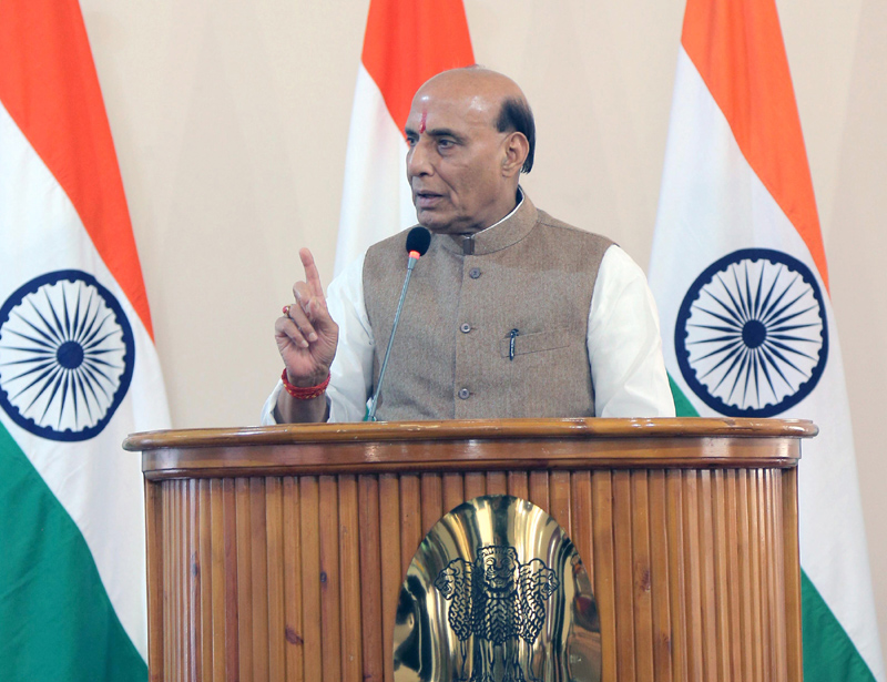 Union Minister for Defence Rajnath Singh speaking at an event in Uzbekistan on Sunday.