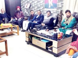 Ex-MP Ch Lal Singh addressing meeting of DSSP executive body in Jammu on Thursday.
