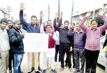 Youth Cong activists staging protest at Sunderbani on Thursday.