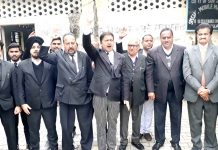 Bar Association members protesting at Kathua on Friday.