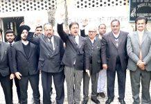 Bar Association members protesting at Kathua on Friday.