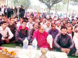 NPP leader Harsh Dev Singh addressing public meeting at Majalta in Udhampur on Thursday.