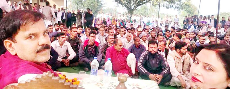 NPP leader Harsh Dev Singh addressing public meeting at Majalta in Udhampur on Thursday.