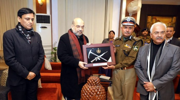 Union Home Minister Amit Shah at the ITBP Headquarters in New Delhi on Saturday. Minister of State for Home Affairs, Nityanand Rai and Union Home Secretary, Ajay Kumar Bhalla are also seen.