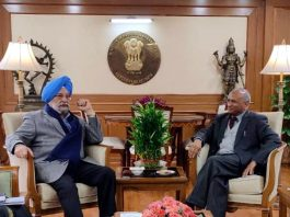 LG Ladakh R K Mathur during meeting with Union Minister Hardeep Puri.
