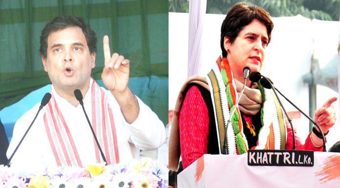 Congress leaders Rahul Gandhi and Priyanka Gandhi Vadra addressing rallies at Guwahati and Lucknow respectively on Saturday. (UNI)