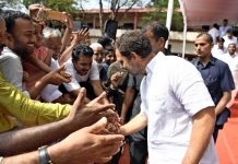 Congress leader Rahul Gandhi meeting supporters during his visit to Wayanad Parliamentary constituency in Kerala on Thursday. (UNI)