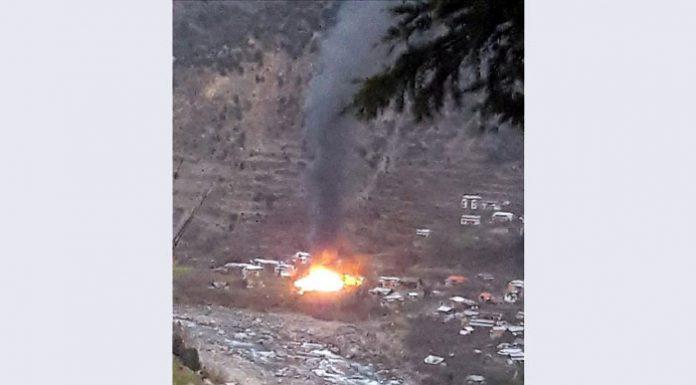Image shows terror launch pad hit in forward area of Neelum Valley in PoK.