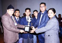 Students being honoured during Alumni Meet at Sainik School Nagrota in Jammu.