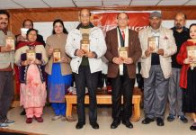 Dignitaries releasing Dogri novel 'Champa' at Jammu on Saturday.