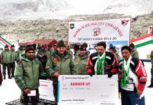 Players being felicitated by Army during the closing ceremony of Ice Hockey Tournament in Ladakh.