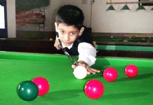 Young cueist Aarav Gupta aiming at target during Sub Junior Snooker Championship in Jammu. -Excelsior/Rakesh