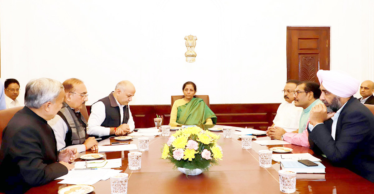 Union Minister for Finance and Corporate Affairs, Nirmala Sitharaman in a meeting with the Finance Ministers of Kerala, Rajasthan, Punjab, Madhya Pradesh, Chhattisgarh and Delhi, in New Delhi on Wednesday.
