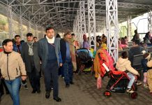 Ramesh Kumar, CEO SMVD Shrine Board inspecting facilities for pilgrims on Saturday.