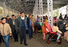 Ramesh Kumar, CEO SMVD Shrine Board inspecting facilities for pilgrims on Saturday.