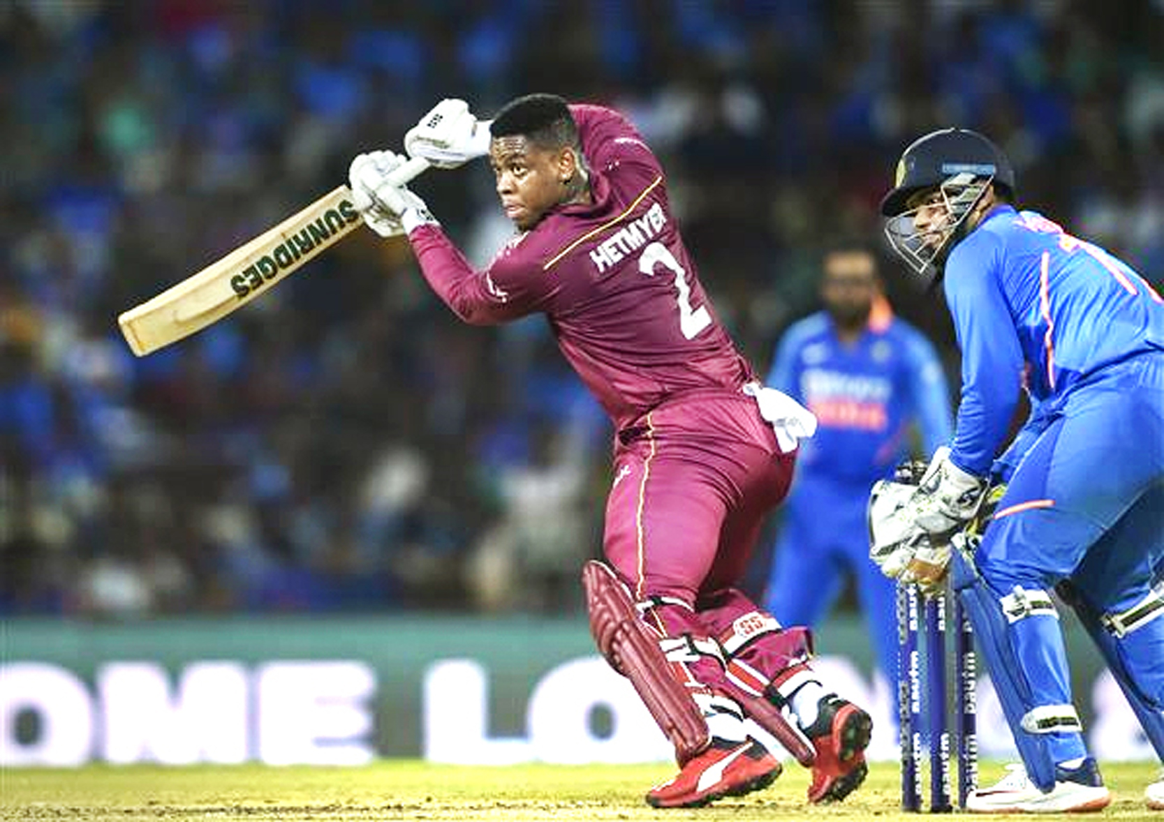 West Indies batsman Shimron Hetmyer executing a shot during his knock of 139 against India at Chennai on Sunday.
