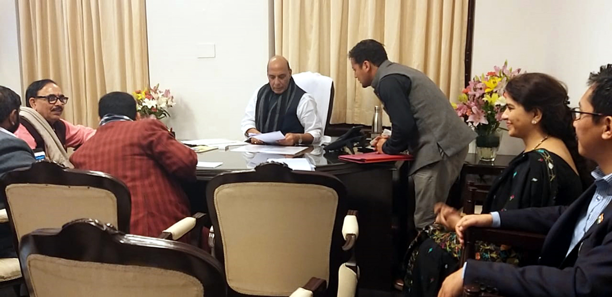 A delegation from Leh briefing Defence Minister Rajnath Singh about the issues of Ladakh.
