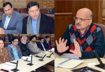 Advisor K K Sharma and Chief Secretary BVR Subrahmanyam chairing a meeting in Jammu on Saturday.