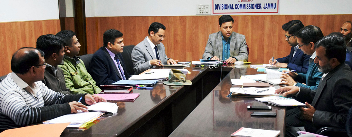 Divisional Commissioner Sanjeev Verma chairing a meeting in Jammu on Wednesday.
