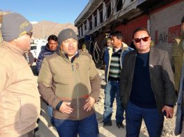 CEC Leh inspecting construction work of Choglamsar bridge.