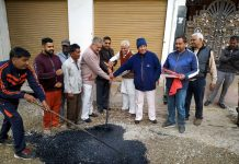 JMC Mayor Chander Mohan Gupta starting blacktopping work in Shiv Nagar area of Jammu.
