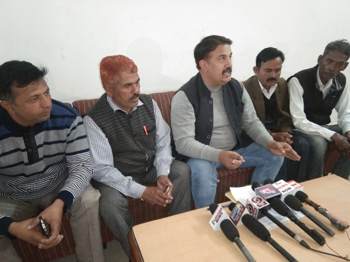 Sarpanches at a press conference in Samba on Wednesday. — Excelsior/Badyal