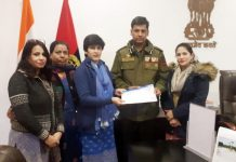 BJP Mahila Morcha delegation submitting memorandum to IGP Jammu on Saturday.