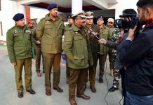 DGP Dilbagh Singh briefing media persons after reviewing security situation in district Kupwara.