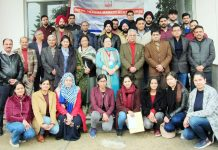 Principal GMC Jammu, Dr Sunanda Raina and other faculty members posing with participants of trauma management course.