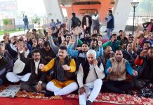Elected Sarpanches and Panches sitting on hunger strike at Dogra Chowk in Jammu on Wednesday. —Excelsior/Rakesh